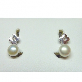 Pendientes oro blanco niña perla china flor brillante