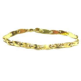 Pulsera oro ovalos relieve mate brillo