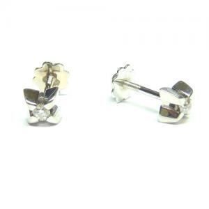 Pendientes oro blanco brillante 4 aristas_1